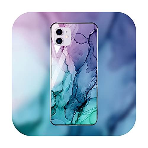 Funda de mármol para iPhone 12 Pro Max caso de vidrio templado iPhone 11 Pro Max parachoques Xs Max Xr Xs X 7 8 Plus 6 6s SE 2-M731-para iPhone XS Max