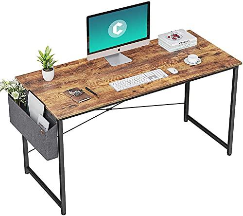 HOMIDEC Scrivania Computer, Tavolo per Laptop con Portaoggetti, 120 x 60 x 75 cm Scrivania da ufficio, Tavolo in Stile Industriale Realizzato in Legno e Metallo, Postazione di Studio, Quercia