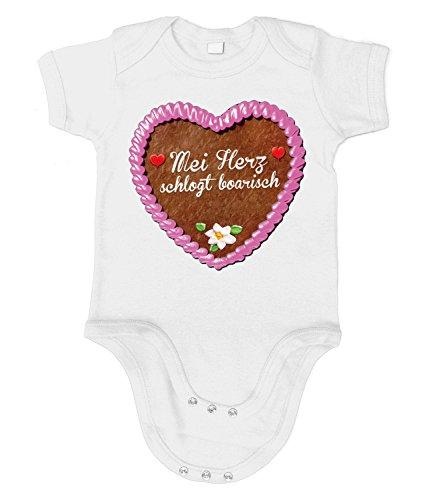 Artdiktat Baby Organic Bodysuit - Strampler - Lebkuchenherz - MEI Herz Schlogt Boarisch Größe 66/76, Weiß