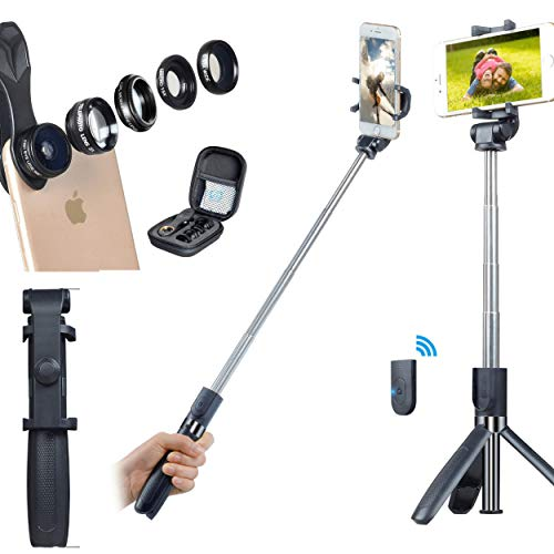 Selfie Stick Tripod with iPhone Camera Lens kit 5 in 1 | Tripods for Android and Apple with Bluetooth Remote Control | Fisheye, 2X Telescope, Wide Angle, CPL Telephoto Lens | Travel Mount | Vlogging