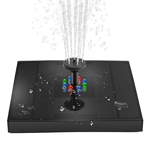 Solar Springbrunnen mit LED Lights Teichpumpe Garten Wasserpumpe Eingebaute 4W 1200mAh Batterie Schwimmender Fontäne mit 4 Fontänenstile für Garten, Teich, Vogelbad