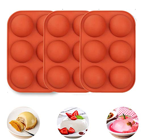 3Pack Half Ball Sphere Cake Silicone Mold, Festival Party Food Grade Silicone Cake Mold Muffin Cookie Baking Mould Pan For Chocolate, Cake, Jelly, Pudding (RED)