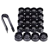 Uteruik, 16 copribulloni esagonali universali per bulloni delle ruote da 17mm, con 4 di bloccaggio e strumento di rimozione, adatti per qualsiasi auto, colore: nero