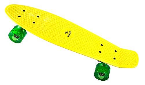 PiNAO Sports - Retro-Skateboard (Gelb) für Kinder, Jugendliche & Erwachsene, Vintage-Skateboard (11041) [PP-Deck mit extra Verstärkungan der Unterseite, 60 x 45 mm PU-Rollen (Härte 78A)