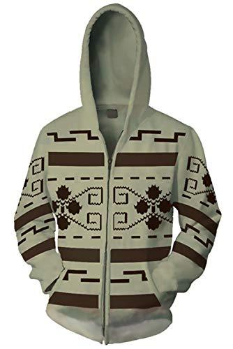 MingoTor Herren Damen Kapuzenjacke Pullover mit Kapuze Sweatjacke Hoodie Cosplay Kostüm Grau XXL