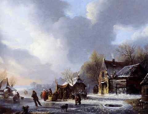 Stol Jacobus Van Der Skaters Op Een Bevroren Rivier Nabij Een Koek En Zopie A3 Doos Canvas Print