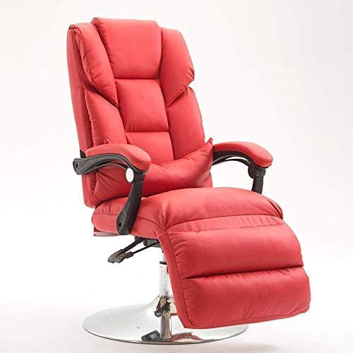 JYHS Silla de belleza reclinable, con máscara de belleza, silla reclinable para computadora, sillón reclinable para el almuerzo, silla de oficina, rosa, negro, color: rosa y cómodo (color: rojo)