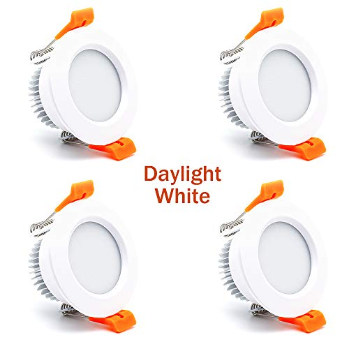2.5 inch Dimmable LED Downlight, 110V 3W, 6000K Daylight/Pure White Retrofit Recessed Lighting, CRI 80 with LED Driver, No Can Needed, 4 Pack