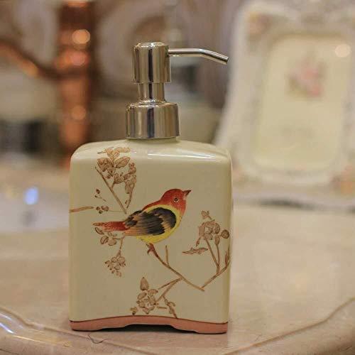Pgs Vloeibare zeep Container, Original Design Refillable Eco Resin Keramiek zeepdispenser, Retro 100% hand schilderen Boom van de Vogel Rapid extrusie-plein Shampoo Hand Sanitizer fles, 500ml