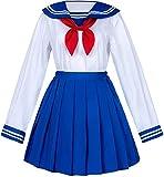 CHYOOO Anime Sailor Traje, Colegiala Japonesa Vestido de Marinero Camisas Uniform Anime Cosplay Disfraces(XXL,Hellblau)