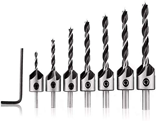 Wrench Tool 7pcs HSS 5 Flute Countersink Drill Bit Set Reamer Woodworking 3-10mm Chamfer Drill Bits-