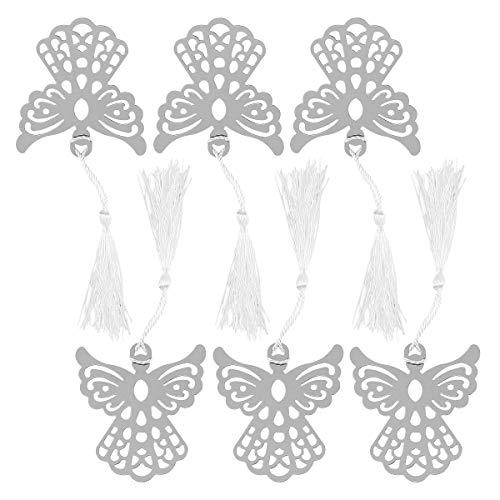 STOBOK Segnalibri in metallo argento con nappe in seta bianca 6 pezzi