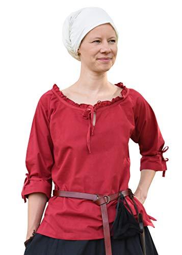 Battle-Merchant Mittelalter Bluse Birga aus Baumwolle mit 3/4 Arm - Mittelalter Kleidung Damen (Large, Rot)