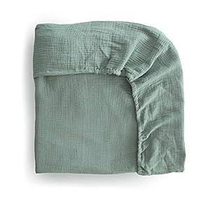 mushie Extra Soft Muslin Fitted Crib Sheet | 28″x 52″ (Roman Green)