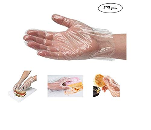 500pcs Clear Plastic Disposable Gloves Sanitary Gloves Latex Free & Powder Free Food Grade Gloves for Cooking Cleaning Food Handling