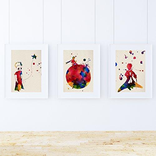 Nacnic Pack de láminas EL PRINCIPITO. Posters en estilo acuarela con imágenes del principito. Decoración de interiores con imágenes de cuentos infantiles