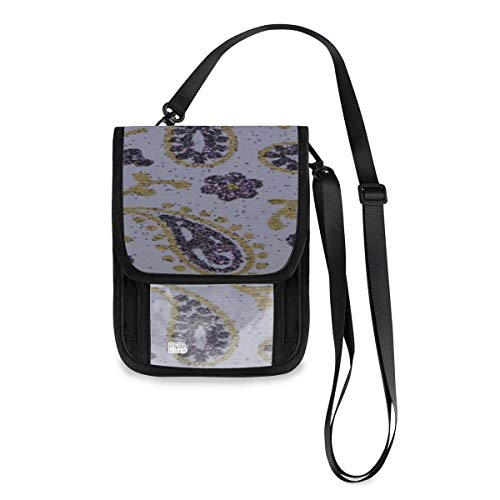 Paisley Purple Lavender Gold Glitter Paper Neck Wallet Bag Custom Lightweight Passport Wallet Small With A Long Strap Travel Money Pouch Best Passport Holder