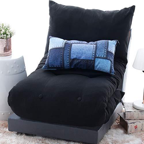 Futon Dobrável De Espuma Solteiro Preto + Capa De Almofada Decorativa Suede 30x50cm - BF Colchões