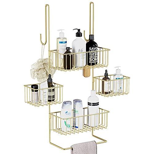 Estante de almacenamiento de ducha extra grande, estante de almacenamiento de ducha sobre ducha sobre puerta, estante de almacenamiento de ducha sobre ducha con ganchos de toalla y cestas de almacenam