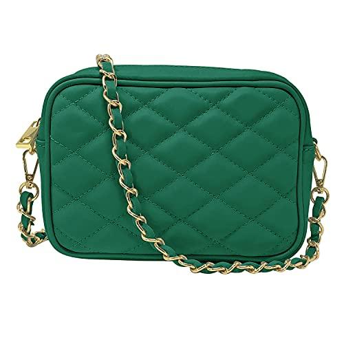 Parubi, Bolso de mujer de piel auténtica acolchada, fabricado en Italia, modelo Nora, bolso de mano pequeño con cadena, bolso bandolera para mujer y niña, elegante, verde botella (Verde) - PRB2370