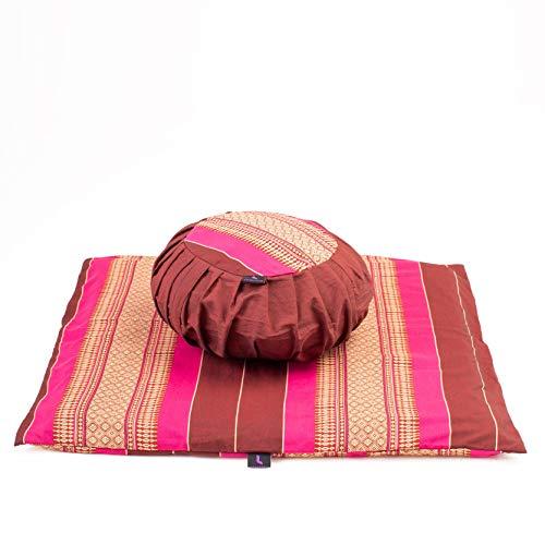 Leewadee Set de meditación con Funda – Cojín Zafu y colchoneta Zabuton de meditación y Yoga, Asiento tailandés de kapok Natural, Set de 2, castaño Rosado