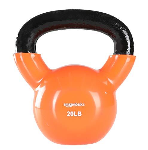 Amazon Basics Vinyl Kettlebell - 20 Pounds, Orange