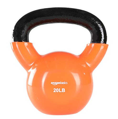 AmazonBasics Vinyl Kettlebell - 20 Pounds, Orange
