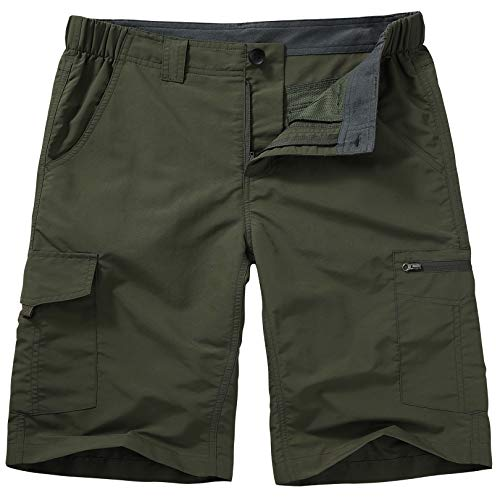 Hiking Shorts for Men Cargo Casual Quick Dry Lightweight Stretch Waist Outdoor Fishing Travel Shorts (6228 Army Green 36)