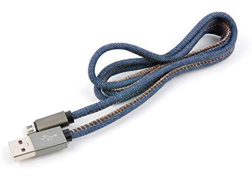 DURAGADGET Cavo Micro USB 2.0 Jeans Denim Style per Action Camera MGCOOL Explorer PRO Action Camera 4K / Explorer PRO 2 / Explorer 3   Midland H180 / H3 / H360 / XTC400 – Data/SYNC – 1 Metro