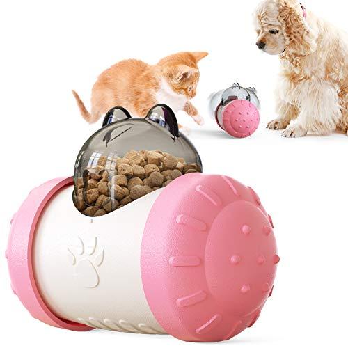 CSZhou Dog and Cat Slow Feeder Pet Food Dispensing Toys Food Leakage Swing Bear Interactive Chase Toy Pet Treat Leakage Puzzle Toy Exercise IQ Improving Rose