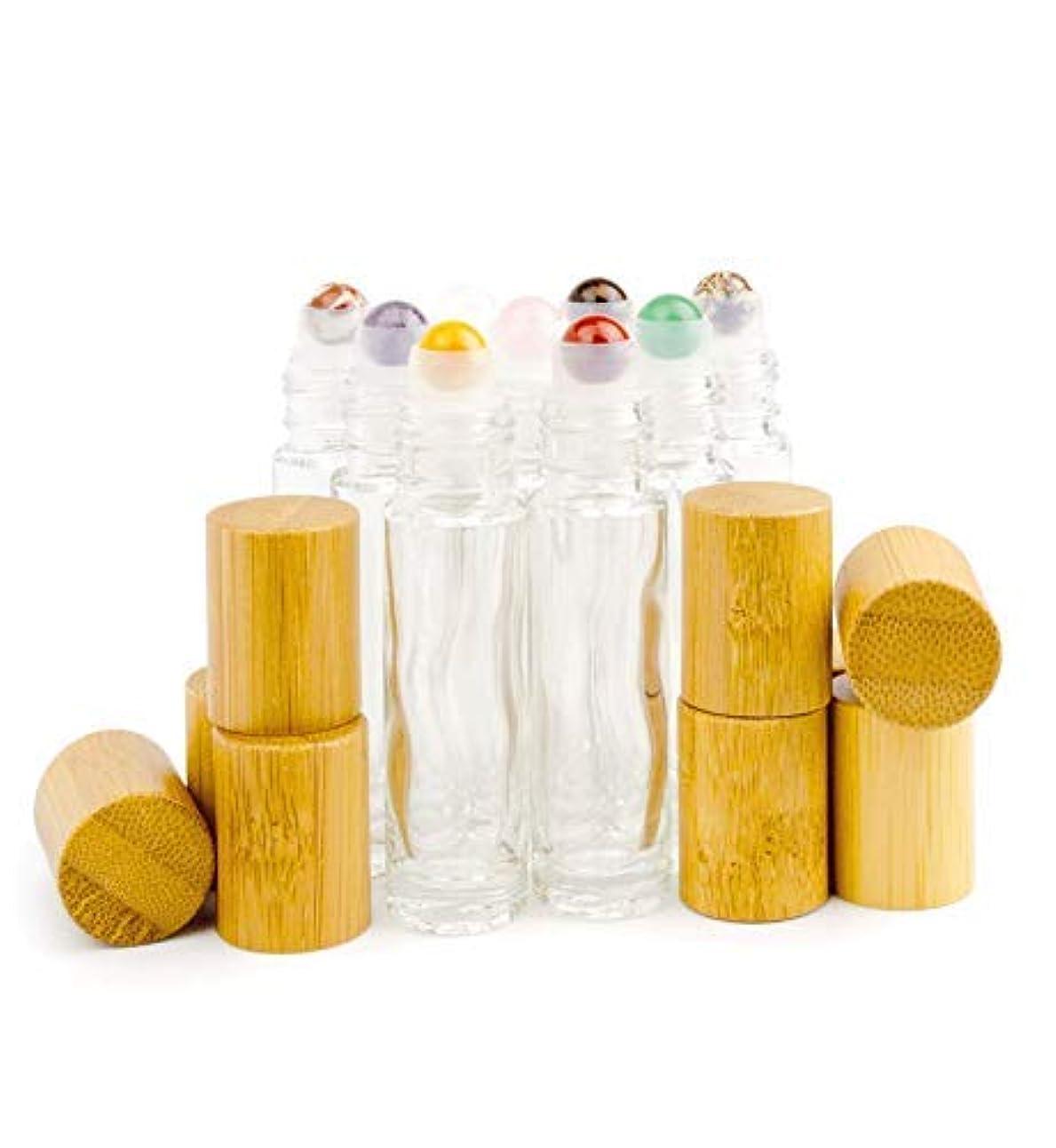 耕すメガロポリス反乱Grand Parfums 9 Gemstone Crystal Roller Tops in 10ml Clear Glass Bottles, with Natural Bamboo Caps for Essential Oil Blends, DIY Aromatherapy [並行輸入品]
