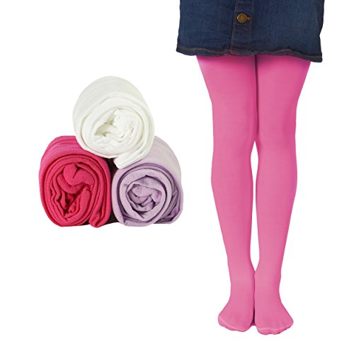 Mallary Girls Microfiber Tights 3-Pack Lavender, Totally Pink, White 4 to 6