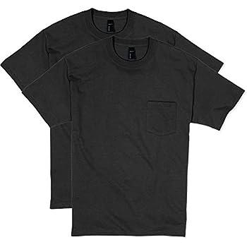 Hanes Men s Beefy Short Sleeve Pocket Tee Value Pack  2-Pack  Black Large