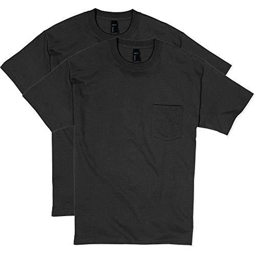 Hanes Men's 2 Pack Short Sleeve Pocket Beefy-T, Black, 3X-Large