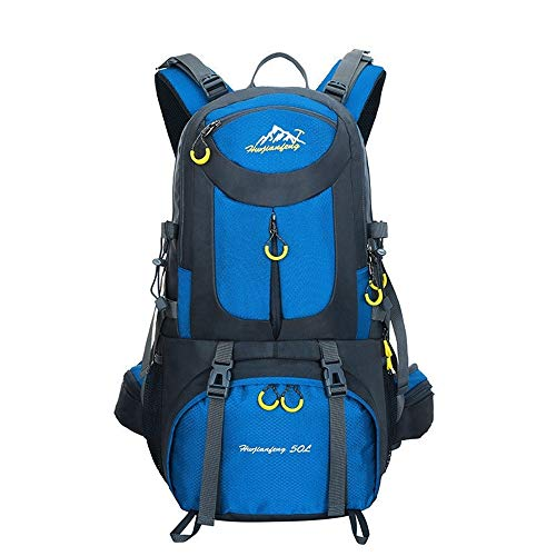 CHSDN Outdoor Mountaineering Sports Backpack Men and Women Large Capacity Backpack 60L50L40L Travel Backpack Sky Blue 60L 35cmX60cmX20cm