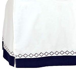 Just Born Boys and Girls Newborn Infant Baby Toddler Nursery Dust Ruffle Beddding Crib Skirt, Navy/White, One Size