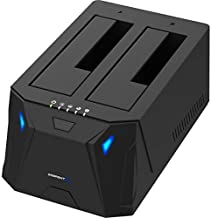 Sabrent USB 3.0 to SATA I/II/III Dual Bay External Hard Drive Docking Station for 2.5 or 3.5in HDD, SSD with Hard Drive Duplicator/Cloner Function [10TB Support] (EC-HD2B) (Renewed)