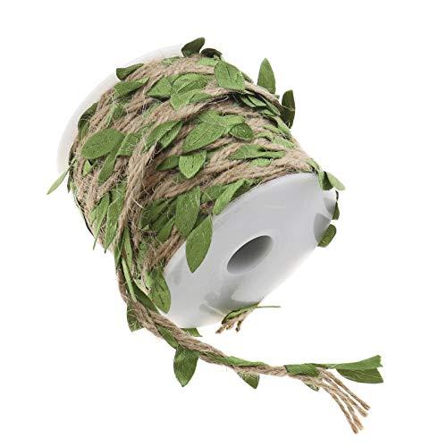 OTOTEC Cuerda de yute con hojas, 20 m de hoja de arpillera natural con cuerda de cáñamo de hoja artificial con bobina para manualidades, hogar, jardín, decoración de fiestas, color verde