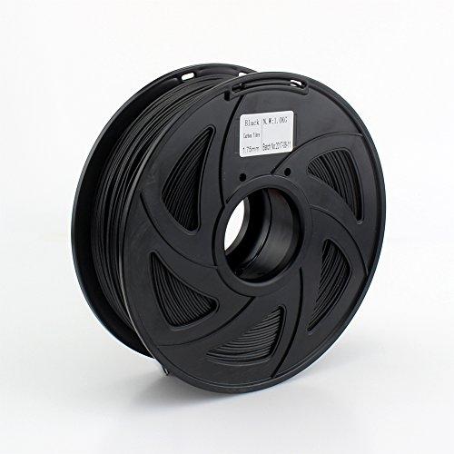 creozone Premium calidad de fibra de carbono Bobina de filamento para impresora 3d (1,75mm 1kg Negro color para Prusa i3ragrap