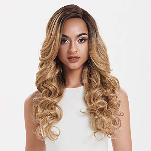 "DÉBUT lace front wigs for black women Long wavy wigs for white women synthetic hair 22"" 274g Swiss Lace Heat Resistant Fibers Half Hand Tied (TT6/23C)"