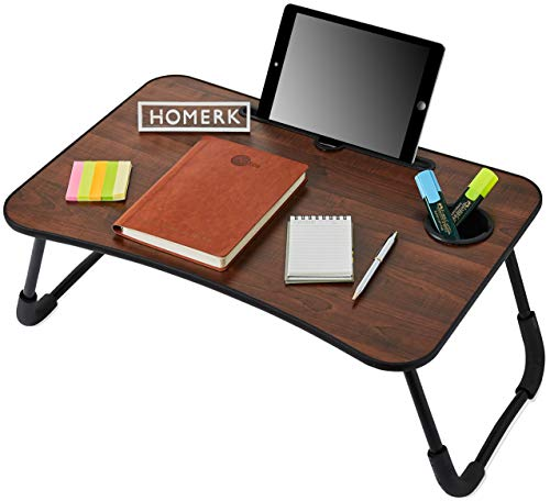 HOMERK Porti Multi-Purpose Laptop Table | Foldable & Portable | Integrated Cup Holder & Tablet Stand | Non Slip Legs | Bed Gaming Writing Study Desk | Ergonomic Curved Edge | Made in India (Walnut)