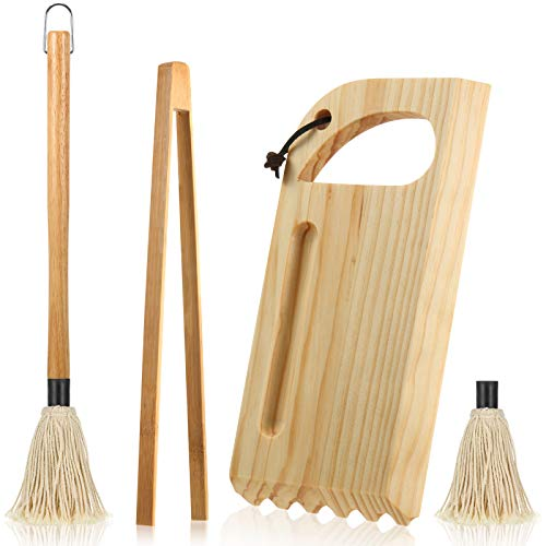 Wood Grill Scraper Tool Set Wooden Barbecue Grill Grate Cleaner Wood Grill Brush BBQ Scrapers with Grooved and Flat Edge Wooden Bamboo Toast Tongs and Grill Basting Mop with 1 Replacement Head