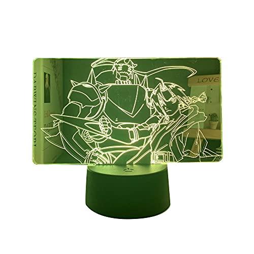 Lâmpada 3D Anime Fullmetal Alchemist Edward Elric Light para crianças, quarto de criança, decoração noturna, presente de aniversário, mangá Edward