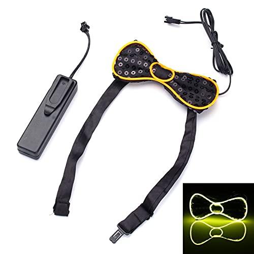 La batería LED se ilumina for arriba la corbata for hombre de la corbata de lazo for el banquete de boda de Halloween DC3V ILFYJRHD (Color : Color Yellow)