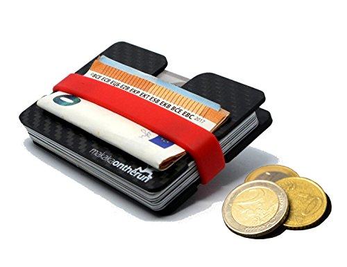 Premium Visitenkarten- & Kreditkartenetui aus stabilem Carbon - RFID & NFC Schutz bis 16 Karten - abgerundete Kanten, Geldklammer, Münzfach eingefräst - Slim Wallet/Minimalist Portemonnaie Geldbörse