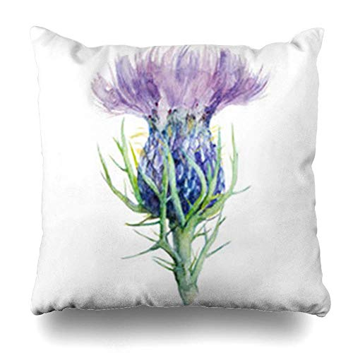 Green Haoke Cushion Cover Painting Milk Thistle Flower Watercolor Blossom Nature Scottish Purple Celtic Hand Sofa Car Bed Decorative Pillow Case