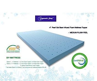 Ergonomic Sleep TG181040T Gel Foam Mattress Topper Pad-Parent