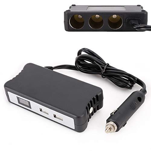 Tangmeiyu Divisor Ligero de zócalo de Cigarrillo Multifuncional con 2 Puertos USB 2.4A Cargador de automóviles con Pantalla Digital