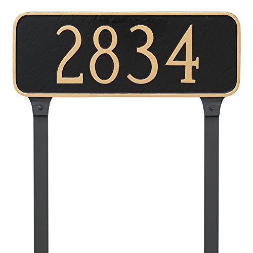 "Montague Metal Rectangle Address Plaque Sign with Stakes, 6"" x 15.75"", Black/Gold"