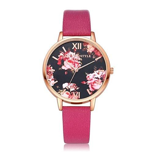 Zhouzl Outdoor Sports Accessories P086Leather Strap Flower Dial Cuarzo Reloj de Pulsera (Negro + Oro Rosa) Outdoor Sports Accessories (Color : Rose Red+Rose Gold)